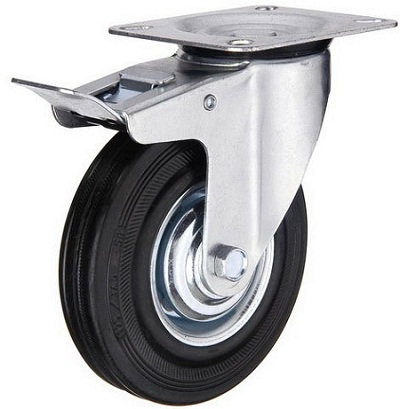 Industrial Caster Black Rubber Wheel Swivel Plate with Total